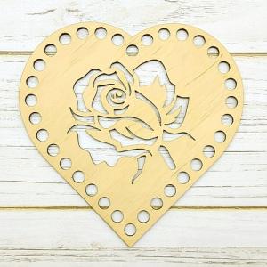 Заготовка з дерева сердечко з трояндою 15х15 см 00-15-15