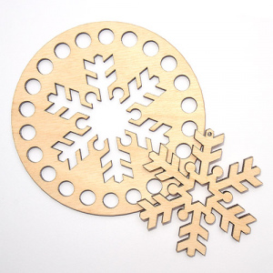 Заготовка з дерева кругла 10 см пухнаста сніжинка