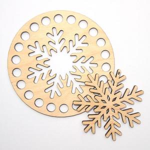 Заготовка з дерева кругла 10 см тоненька сніжинка