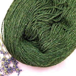 Пряжа з вовни Nordika Wool темно-зелена 02-015