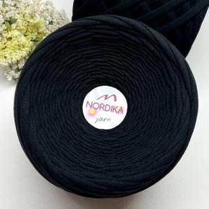 Трикотажна пряжа Nordika Yarn 7-9 мм чорна 79-004
