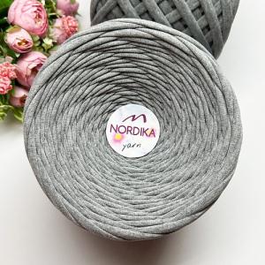 Трикотажна пряжа Nordika Yarn 7-9 мм сірий меланж 79-006